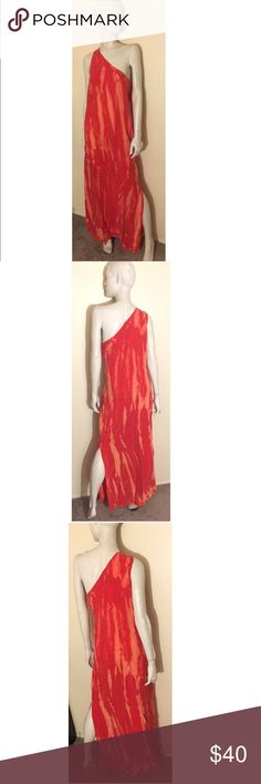 C&C CALIFORNIA Molten Lava Maxi Dress - MED Stunning One-Shoulder Maxi Dress. Drapes beautifully. Can be worn with or without a belt (belt not included). 100% Cupro. C&C California Dresses Maxi