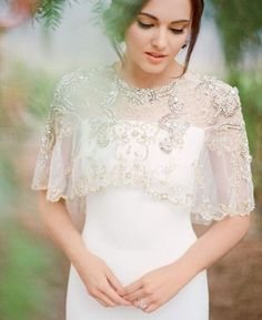 Dreamy Embellished Capelet | 30 Wedding Cover Ups to Keep Warm on Your Big Day | Wedding Dresses & Extras
