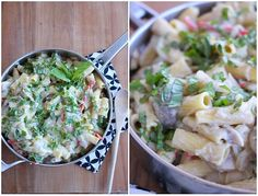 Creamy Cauliflower and Basil Alfredo Rigatoni (vegan)