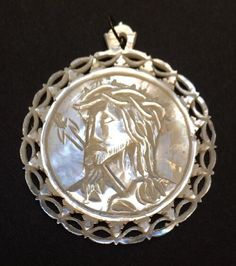 """Antique Icon 1-5/8"""" Round Jesus Pendant Hand Carved Mother Of Pearl Jerusalem"""