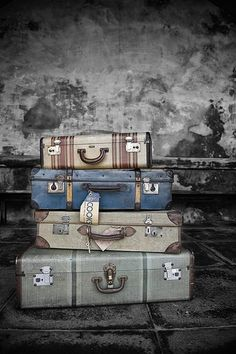 Vintage suitcases make great decorative accents or tables when stacked - great for the world traveler collected look.