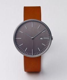 Men's Watch - Uniform Wares 203 Series - PVD Gun Grey / Tan Leather. Modern Watch, Minimalist Watch.