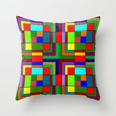 Geometric color Throw Pillow by Pedro Vale - $20.00