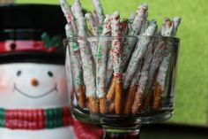 Chocolate dipped pretzels! Here's a super easy homemade holiday gift you can make with preschoolers!