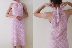 Sale Vintage pink and white plaid midi dress, a-line, keyhole, high neck , baby doll sleeveless knee dress, cute bow tie at back, XXS, XS