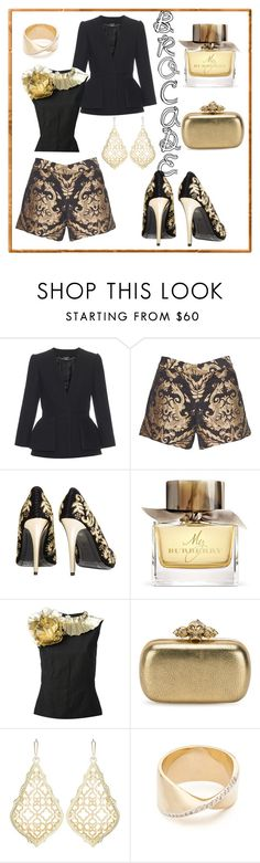 """""""Brocade"""" by mdfletch ❤ liked on Polyvore featuring Alexander McQueen, Alice + Olivia, Burberry, Dries Van Noten, Kendra Scott, Adina Reyter and brocade"""