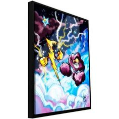 ArtWall Luis Peres Lightning Floater Framed Gallery-Wrapped Canvas, Size: 36 x 48, Purple