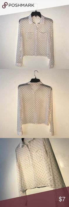 Cream Collared Polka Dot Mesh Button-Up Cream colored button-up with navy polka dots. Thin mesh material. Has two pockets. Aeropostale Tops Button Down Shirts
