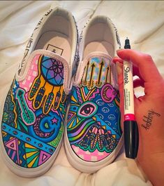 The 100 Most Iconic Vans Sneakers Ever Painted Vans, Hand Painted Shoes, Painted Sneakers, Sharpie Shoes, Custom Vans Shoes, Boho Shoes, Painted Clothes, Outfit Trends, Shoe Art