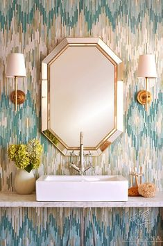 bathroom chevron tile by New Ravenna Mosaics via La Dolche Vita http://newravenna.photoshelter.com/portfolio