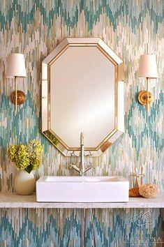bathroom chevron tile by New Ravenna Mosaics via La Dolche Vita http://newravenna.photoshelter.com/portfolio