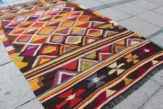 "vivid color rug kilim Modern Style for Kids Room Oriental Rustic Small Kilim, Turkish kilim, Brown Earth Colors,  9'4.6""x5'8.9"" / 286x175cm"
