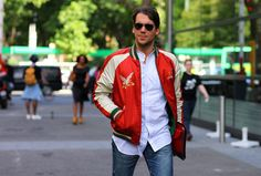Adam Kelly wearing a Polo Ralph Lauren embroidered jacket