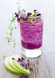 "The Cabbage Patch    2 cups of purple cabbage  3 ribs of celery  1/2 small lemon (rind and all if organic)  2 cups of pear    ""Cabbage is a great cleanser and healer to the digestive tract and is often neglected in the world of juicing,"" Brooks said. Show cabbage and your body some love with this purple juice."