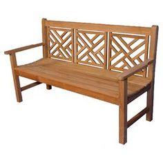 """Indoor/outdoor teak garden bench.    Product: Garden benchConstruction Material: Teak and brassColor: Honey Dimensions: 37"""" H x 60"""" W x 27"""" D"""