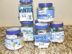 Winter Survival Kit.  Christmas Neighbor Gift Idea.  Includes poem and what to put in your container.
