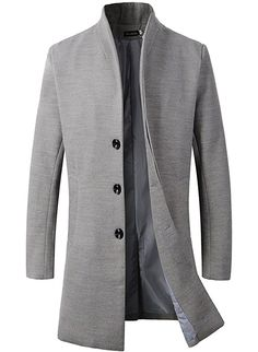 Men's Trench Coat Winter Long Jacket Button Closer Overcoat at Amazon Men's Clothing store: