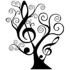 Music Counted Cross Stitch Pattern Design Black and White Treble Clef Tree Cross Stitch Tree, Counted Cross Stitch Patterns, Silhouettes, Music Tree, Music Music, Soul Music, Treble Clef, Mosaic Patterns, Music Notes