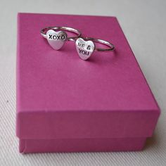 Personalized Heart Ring in Sterling Silver by KerriAnnDesigns, $28.00
