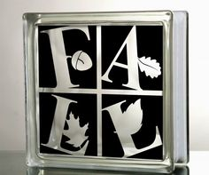 Fall Autumn Leaves Glass Block Decal Tile Mirrors DIY Decal for Glass Blocks Fall Autumn Leaves Harvest