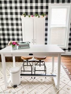 Black and White Plaid Office Craft Room Remodel. Removable wallpaper, new lighting, adding an office nook and storage make a beautiful, multi-use work space on a budget!