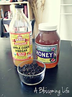 Natural cure for Allergies, Flu, Asthma, and Other Illnesses:1/2 cup dried elderberries, 3 cups water, 1 cup local or raw honey, 2/3 cup raw organic apple cider vinegar