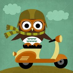 ポスター / Owl on Vespa by Nancy Lee