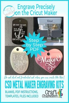 CSD Blank Metal Engraving Bundle for Cricut Maker - The Effective Pictures We Offer You About crafts for tweens A quality picture can tell you many th - Cricut Ideas, Cricut Tutorials, Cricut Craft Room, Cricut Vinyl, Gravure Metal, Engraved Dog Tags, Cds, Vinyl Projects, Art Projects
