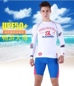 White Long Sleeves Shirt And Shorts Men Rash Guard Swimwear Surf Clothing Mens Diving Suits Swim Suit Spearfishing Kitesurf Xxxl Water Sports Surfing & Diving
