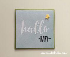 Baby- & Geburtskarten - Babykarte - Hallo Baby - ein Designerstück von AuntieKuku bei DaWanda