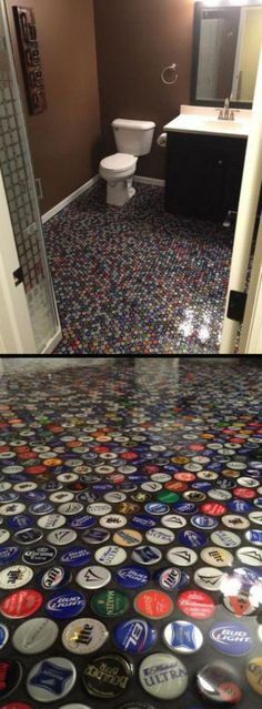 Bottle Cap Floor Tile As much as we love beautiful tile work, this is quite the idea! It might take a while to collect this many beer caps, but the floor was definitely worth it. Check out how they did it here. Man Cave Garage, Man Cave Basement, Car Garage, Bottle Cap Art, Bottle Cap Crafts, Bottle Top, Beer Cap Crafts, Bottle Cap Table, Man Cave Diy