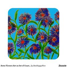 Aster Flowers Art on Set of Coasters