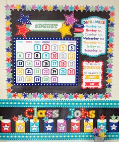Marquee Calendar Bulletin Board - This stylish calendar display comes with easy-to-read number pieces, colorful monthly headers, and additional pieces for holidays and special occasions as well as yesterday, today, and tomorrow.