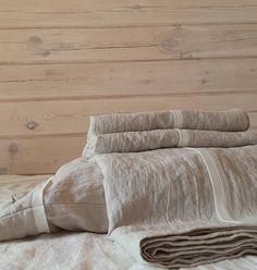 Linen trimmed SHEET SET in natural flax grey softened linen - pure linen top sheet, fitted sheet, 2 pillowcases - linen bedding with trim Linen Bed Sheets, Linen Bedding, Bed Linens, King Sheet Sets, Cool Beds, Duvet Sets, Luxury Bedding, Pillowcases, Natural