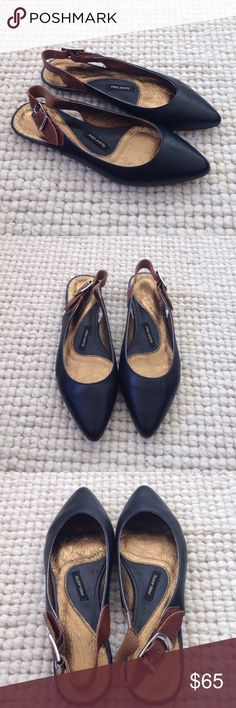 NWOT! Anthro Pied Juste Black Slingback Flats  37 NWOT! Anthro Pied Juste Black Slingback Flats . Size 37/ us7. Black leather. Pointed toe. Anthropologie Shoes Flats & Loafers