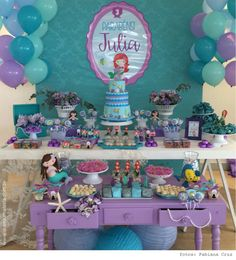Little mermaid birthday party Mermaid Theme Birthday, Little Mermaid Birthday, Little Mermaid Parties, Little Mermaid Decorations, Birthday Party Decorations, Birthday Parties, Mermaid Baby Showers, Julia, Receptions