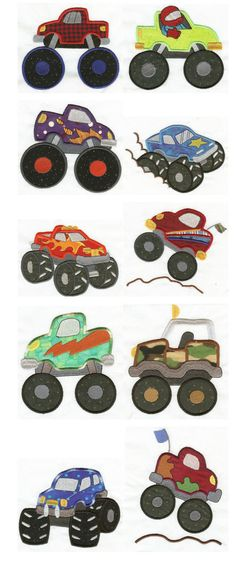 Here are some totally cool monster trucks for your little boys! I know my little 6 year old boy is going crazy over them. Brother Embroidery Machine, Sewing Machine Embroidery, Sewing Appliques, Applique Patterns, Sewing Crafts, Sewing Projects, Quilting, Free Machine Embroidery Designs, Monster Trucks