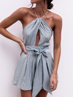 58a9e1cacc2 Gray Halter Cross Back Tie Waist Romper Playsuit - Choies.com. Backless  PlaysuitBeach PlaysuitHalter JumpsuitShort ...