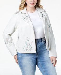 e69879b0be3 Levi s Plus Size Embroidered Faux-Leather Moto Jacket Plus Sizes - Jackets    Blazers - Macy s