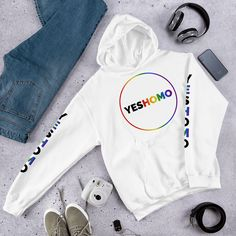 Yes Homo! It's OK to be gay! Show your pride, make a statement and start a movement with this cozy hooded sweatshirt. It's soft, smooth and stylish. Yoda Meme, Hooded Sweatshirts, Hoodies, Personal Fitness, Nike Jacket, Retro Vintage, Product Launch, Stylish, Mandalorian