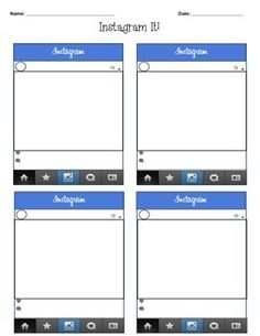 FREE Instagram Template- perfect activity for ANY subject or ...