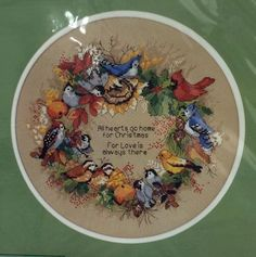 hummingbird cross stitch wreath by dimensions | Dimensions Cross Stitch Kit Forest Birds Wreath Holiday Fruit Home ...