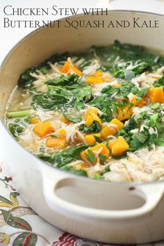 Chicken stew with butternut squash and kale is nutritious, filling and great for a simple weeknight meal.