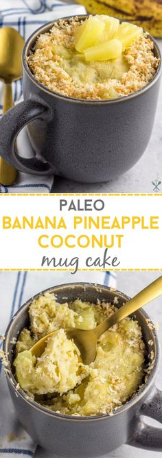 This paleo banana pineapple coconut mug cake is a healthy, naturally sweetened, grain free treat made in under 5 minutes!