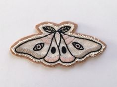 Hand Embroidered Patch Light Moth. Canvas & Wool Blend by Eradura