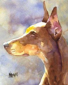 Doberman Pinscher Print of Original Watercolor by dogartstudio, $24.50