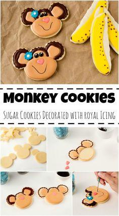 Simple Monkey Cookies via Monkey Cookies, Mickey Mouse Cookies, Baby Cookies, Iced Cookies, Cute Cookies, Birthday Cookies, Heart Cookies, Valentine Cookies, Easter Cookies