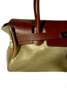 Chatona Large Satchel Gold Suede and Saddle Leather by IMPERIO jp