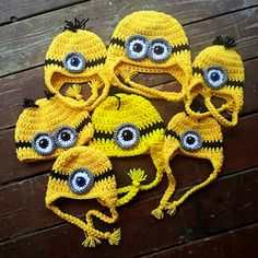 Crochet Minion Hat Perfect for Halloween Choose size eyes and hair for Baby Children and Adults on Etsy, $17.00