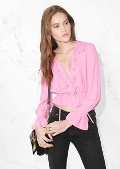 & Other Stories Nostalgic Frills Peplum Blouse in Pink